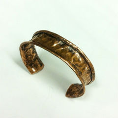 Unisex Tribal Earthy Copper Hammered Cuff - product images 2 of 3