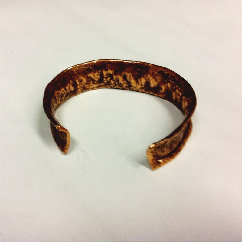 Unisex Tribal Earthy Copper Hammered Cuff - product images  of