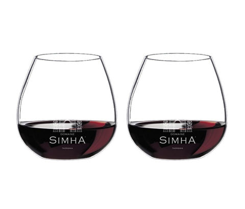 DOMAINE,SIMHA,WINE,GLASS,(2),Riedel 'O' Stemless Pinot Noir glass Domaine Simha Tasmania wine etched Rana Rama Raja cool climate accessory accessories lifestyle Hobart cellar door tastings tours