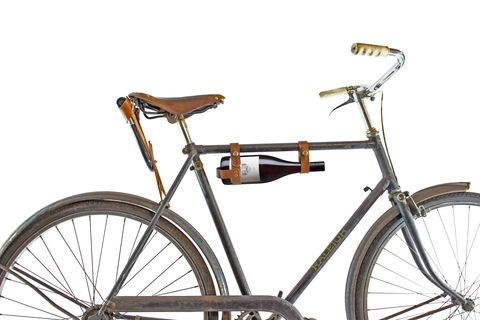 BICYCLE,WINE,HOLSTER,(LEATHER),Bicycle wine rack holster leather bike Domaine Simha Tasmania Hobart accessory accessories lifestyle cellar door tastings tours