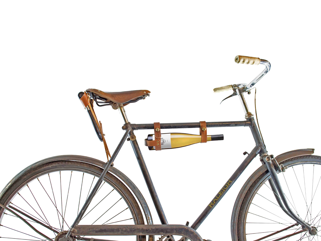 Domaine Simha Tasmania bicycle wine holster