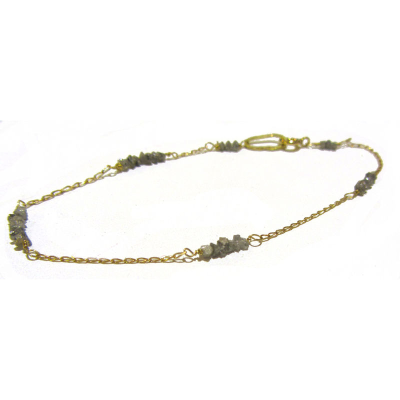 Rough grey diamonds & 18ct yellow gold bracelet by Catherine Marche - product images  of