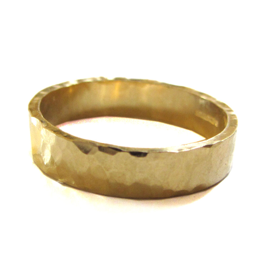organic yellow jewelry rings hammered wedding img gold rustic ring band solid bands