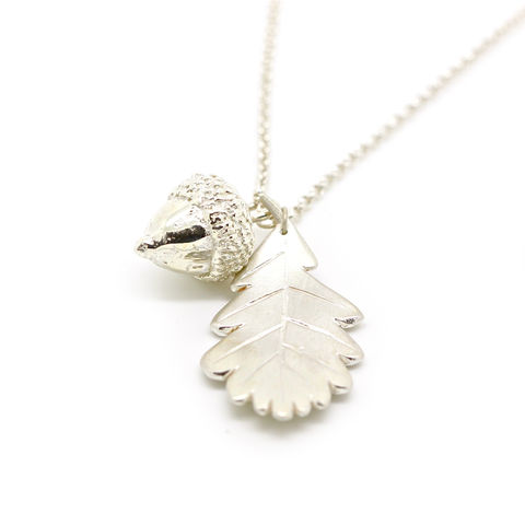 Acorn,necklace,with,leaf,,silver,by,KristinM,acorn necklace