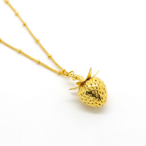 Strawberry,necklace,gold,by,KristinM,strawberry necklace