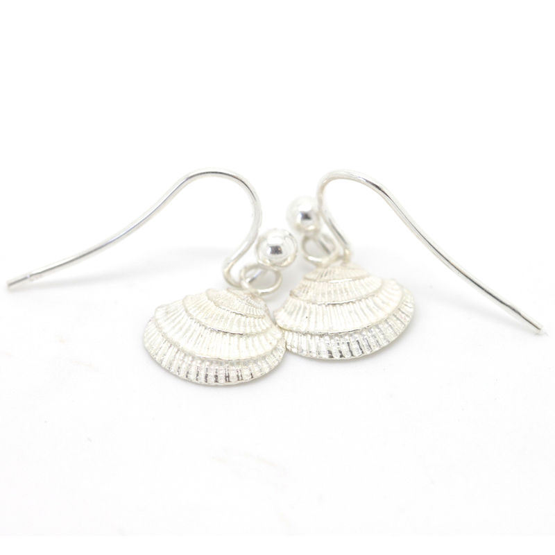 Silver Venus Shell drop earrings by KristinM - product images