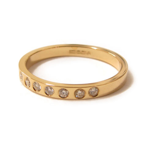 Half,Eternity,18ct,Yellow,Gold,Ring,with,Diamonds,by,Catherine,Marche,half eternity gold ring, wedding ring, diamond and gold band, catherine marche, jedeco, recycled gold, anniversary ring