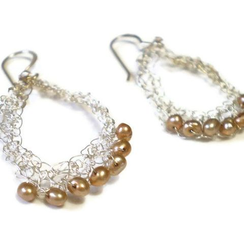 Golden,Pearls,Crocheted,Silver,Earrings,by,Catherine,Marche,gold freshwater pearls, bronze, long earrings, wedding jewellery, catherine marche, jedeco