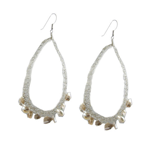 Keshi,Pearls,Crocheted,Silver,Earrings,by,Catherine,Marche,akoya keshi pearls jewellery,pearls earrings, wedding jewellery, sterling silver earrings, statement earrings, crocheted earrings, catherine marche, jeweller in London, oxo tower, southbank