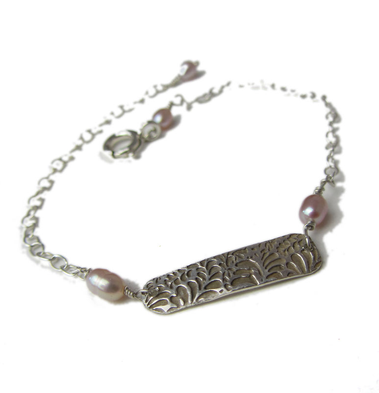 Engraved Silver Bracelet with Pink Pearls by Catherine Marche - product images  of