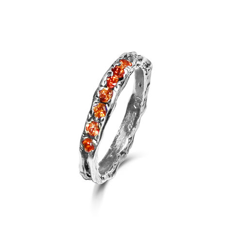 Enlace,half,eternity,band,with,orange,sapphires,by,LaParra,Jewels,organic gold ring with sapphire, half eternity ring