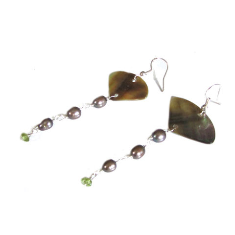 Peridot,and,Pearls,Fan,Earrings,by,Catherine,Marche,catherine Marche, fan earrings, long drop earrings, august gemstone, peridot