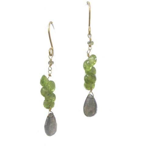 Peridot,and,Labradorite,Earrings,in,18K,yellow,gold,by,Catherine,Marche,august birthstone, peridot and gold earrings, 18K solid yellow gold, labradorite earrings, sapphire earrings, green and grey, catherine marche, jedeco