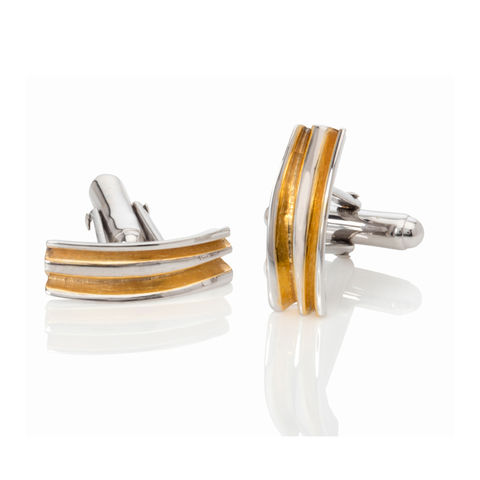 Fold,cufflinks,yellow,gold,by,Danny,Ries,jewellery for men, silver and gold cufflinks, jewellery, jewelry, silver cufflinks, designer cufflinks, gold and silver, danny ries, london