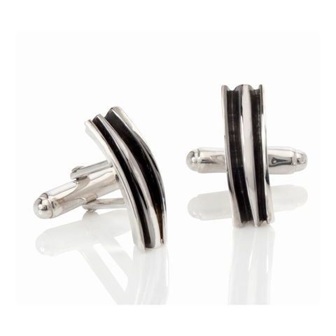 Fold,cufflinks,black,rhodium,by,Danny,Ries,jewellery for men, silver and black rhodium cufflinks, jewellery, jewelry, silver cufflinks, designer cufflinks, danny ries, london