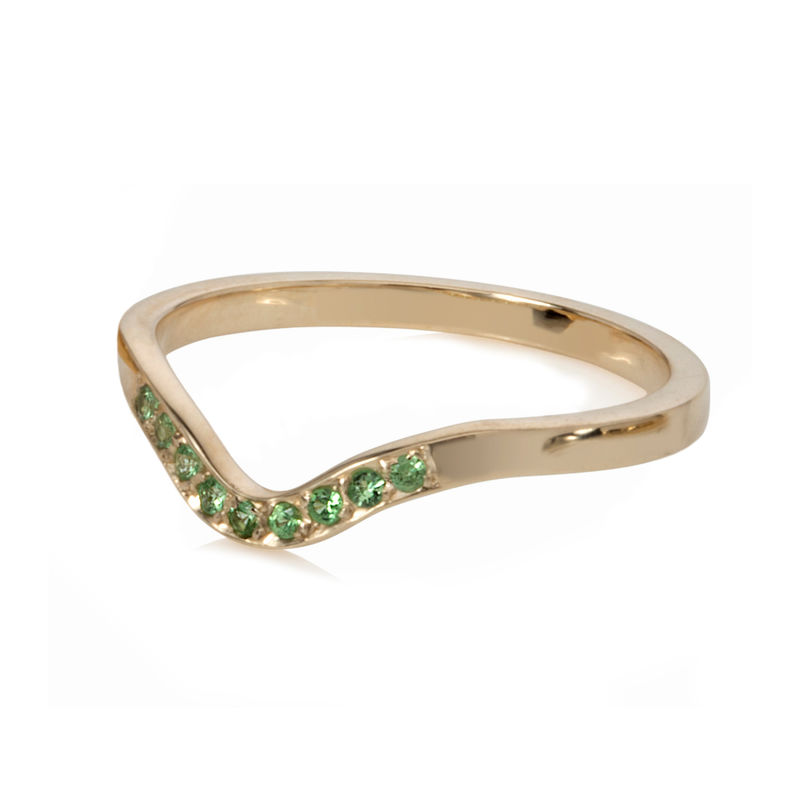 Deco ring yellow gold with tsavorite garnets by Danny Ries - product images