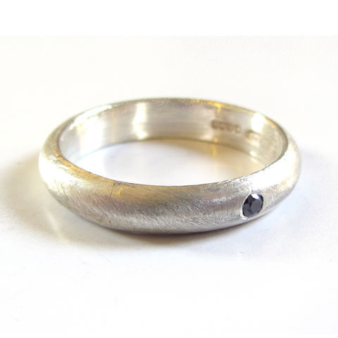 Silver,Band,with,a,Black,Diamond,by,Catherine,Marche,Jewellery,wedding ring with black diamond, black diamond jewellery, london jeweller, wedding ring for men, wedding band for men, rustic jewellery, brushed silver jewellery