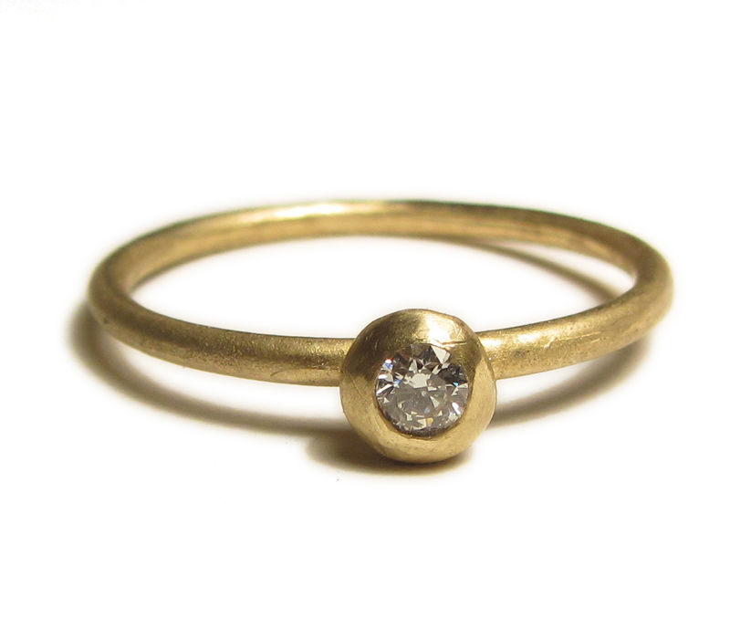 Yellow Gold Solitaire Diamond Ring - 18ct solid gold by Catherine Marche - product images  of