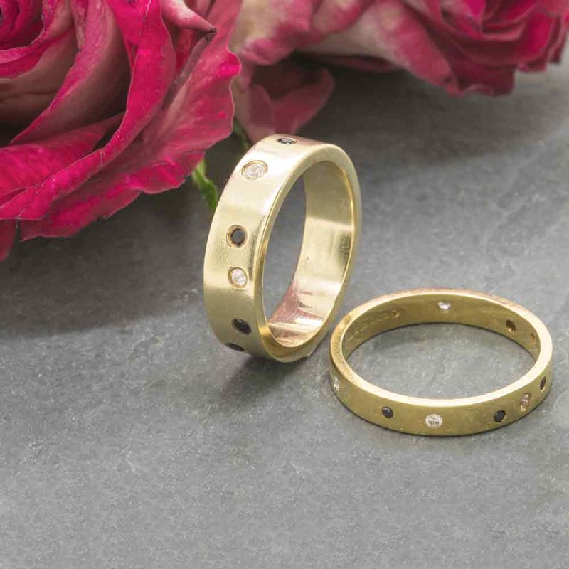 Night and Day wedding ring, 18ct yellow gold with black and white diamonds by Catherine Marche - product images  of