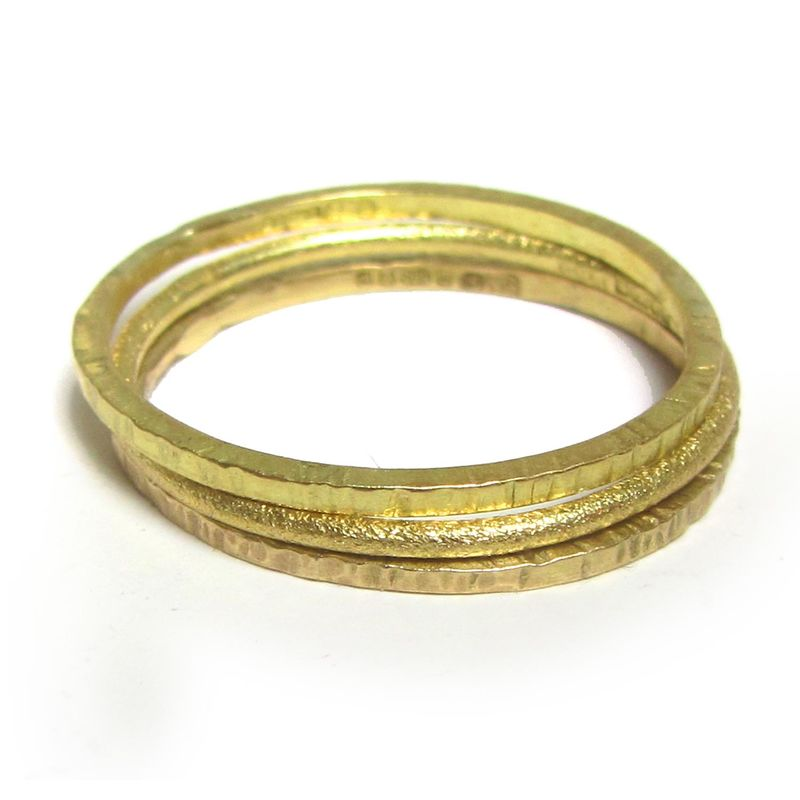 Minimalist Textured Gold Stacking Ring in 18K gold by Catherine Marche - product images  of