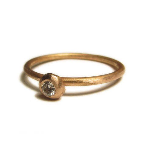 Rose,Gold,and,Diamond,Stacking,Ring,-,18ct,solid,gold,ring,by,Catherine,Marche,rose gold solitaire, 18ct gold ring,catherine marche jewellery,solid yellow gold ring, diamond stacking ring, engagement ring, textured diamond ring