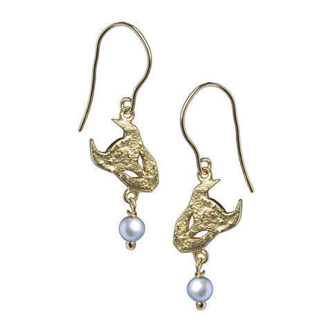 Textured demon earrings in 18ct gold vermeil with pale grey pearls.