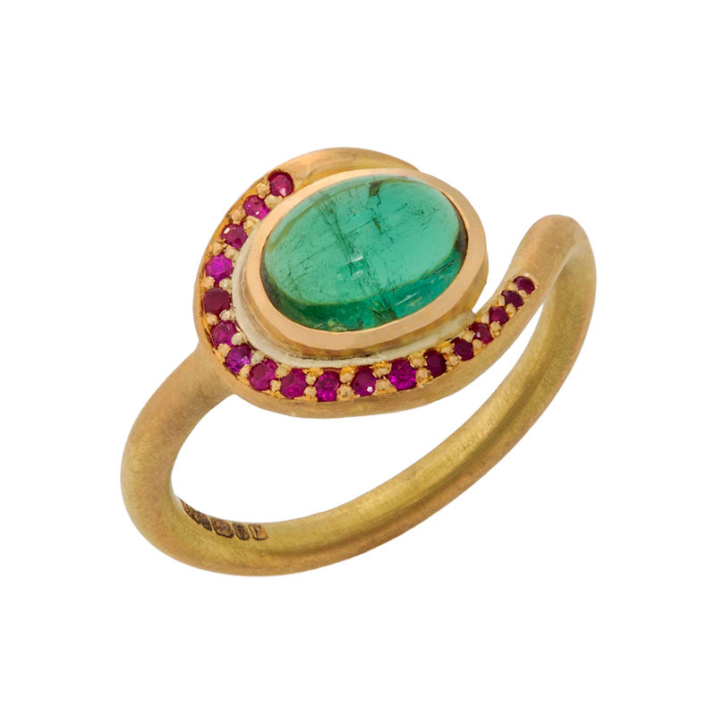 18ct ethical gold ring, green tourmaline, rubies