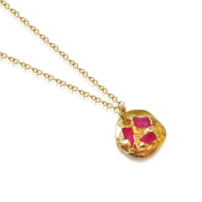 Sterling silver, 18ct gold plate necklace with rubies