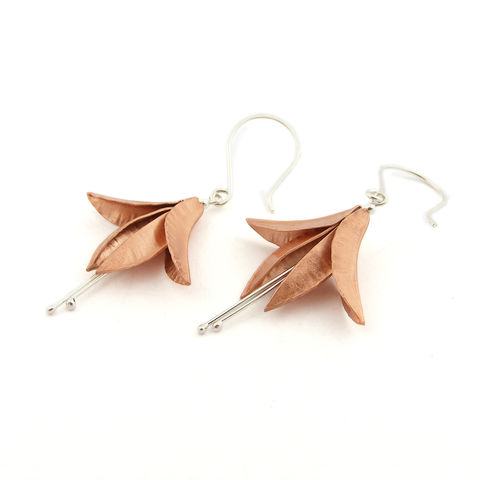 Copper,Fuchsia,Earrings,by,nbbyNg,flower earrings, copper earrings, fuchsia earrings, nbbyng jewellery, jedeco jewelry, london shopping, independent designers