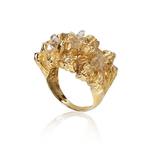 Gold cocktail ring with Herkimer diamonds