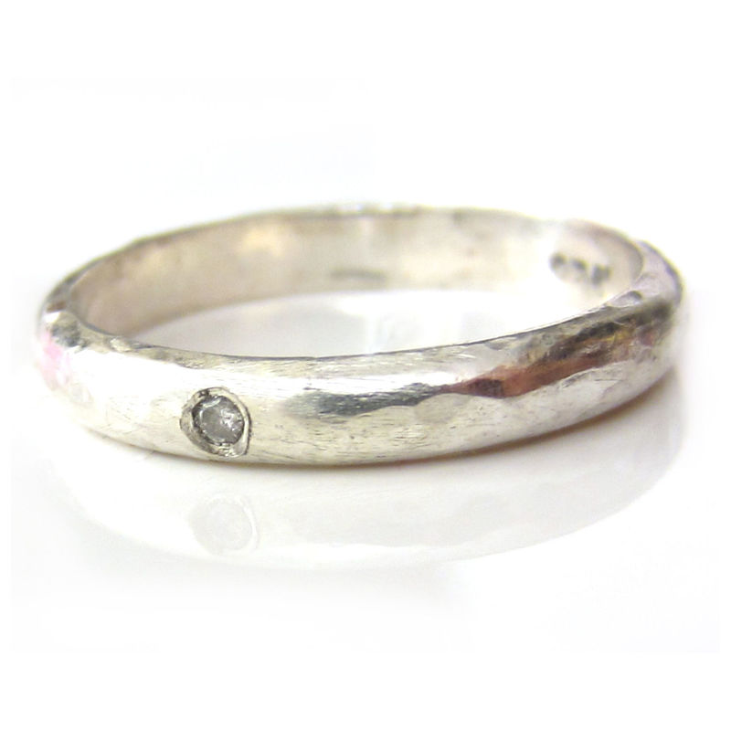 Textured Diamond Solitaire Ring in Sterling Silver by Catherine Marche - product images  of