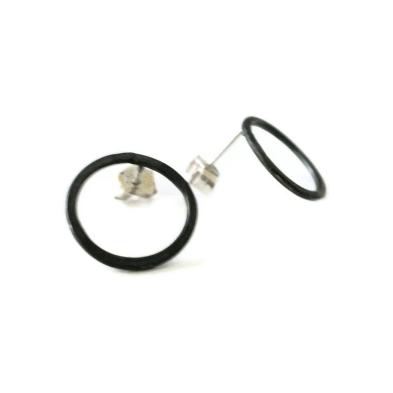 Oxidised Silver Circle Hoops by Catherine Marche - product images