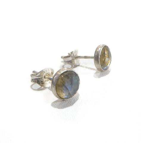 Grey,Labradorite,Stud,Earrings,by,Catherine,Marche,grey earrings, labradorite stud earrings, faceted gemstones earrings, round earrings, catherine marche jewellery, jedeco designer jewellers, london jeweller, bespoke jewellery