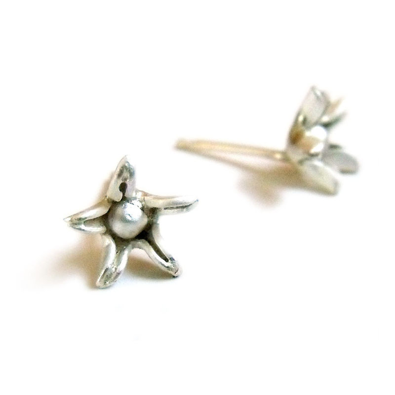 Sterling Silver Star Flower Stud Earrings by Catherine Marche - product images  of
