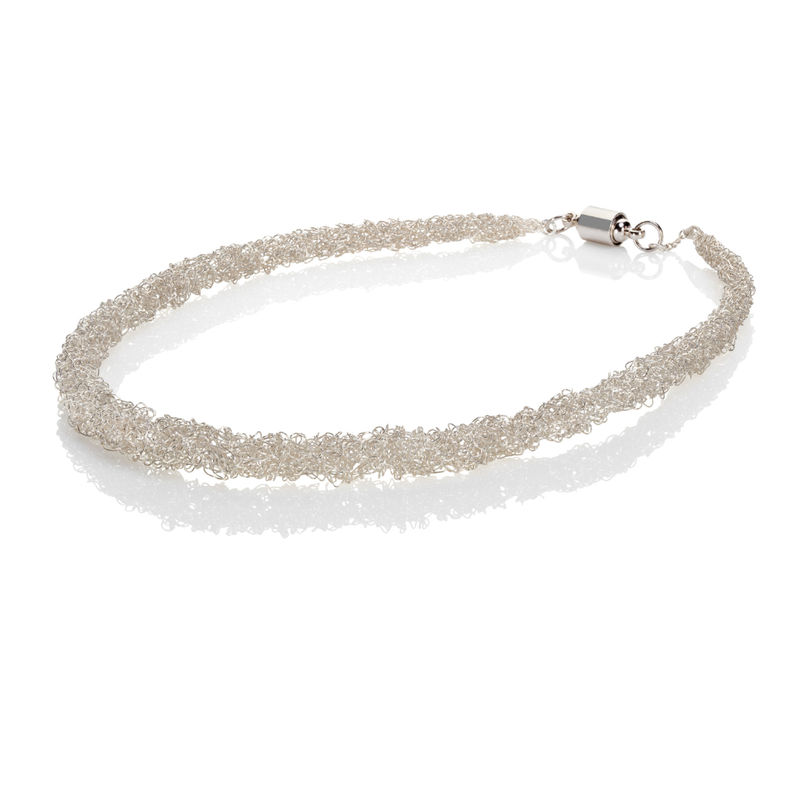 Handknit rope neckpiece silver by Danny Ries - product images