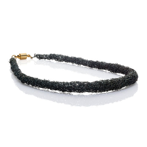 Handknit,rope,neckpiece,black,by,Danny,Ries,Danny Ries, silver hand-knitted necklace, black rope necklace