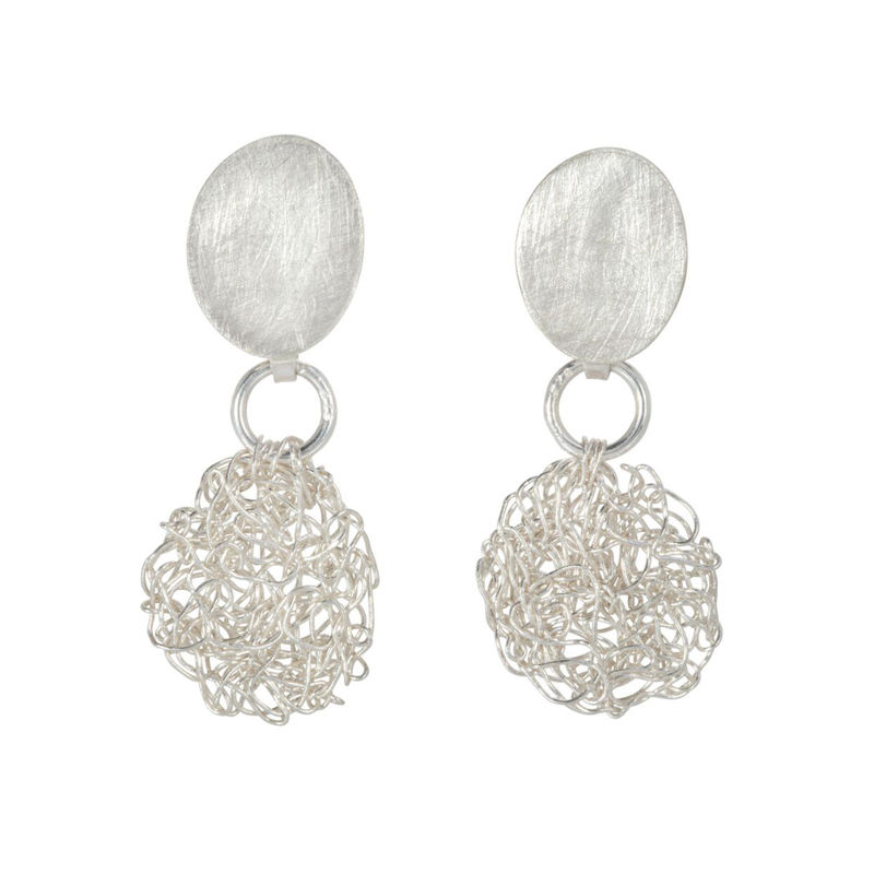 HANDKNIT earrings silver by Danny Ries - product images