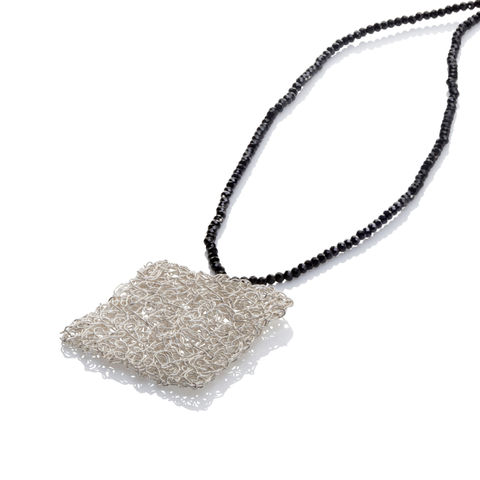 HANDKNIT,silver,square,pendant,by,Danny,Ries,Danny Ries, silver hand-knitted square pendant