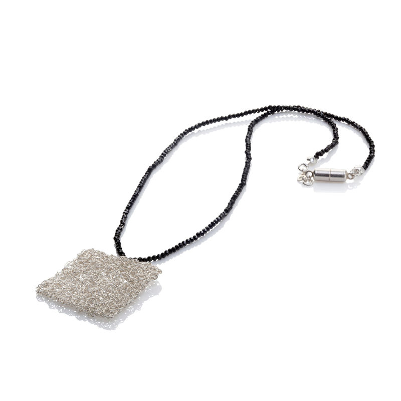HANDKNIT silver square pendant by Danny Ries - product images  of