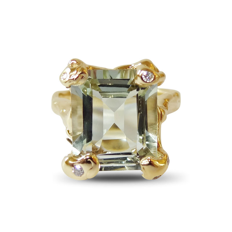 gold ring set with Green amethyst and diamonds by LaParra Jewels - product images