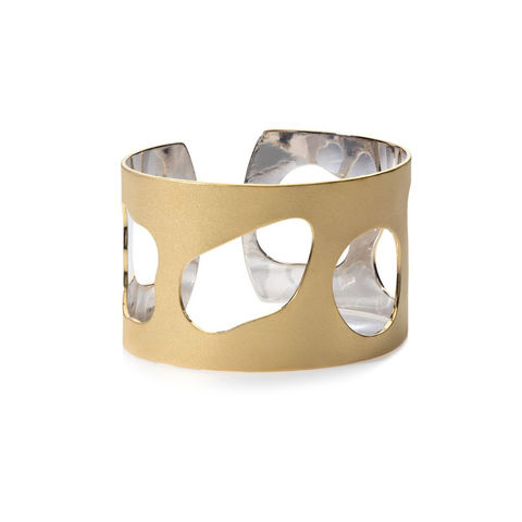 Weathered,Shapes,cuff,gold,by,Juliet,Strong,Juliet Strong, geometric gold cuff, pebble cut-out cuff gold