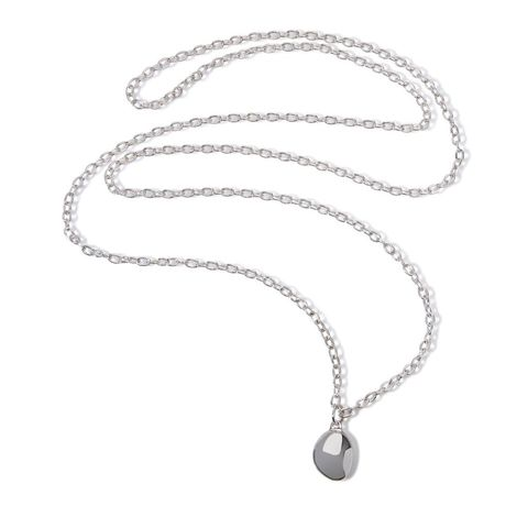 Pebble,&,Flow,necklace,long,by,Juliet,Strong,Juliet Strong, geometric silver pendant, pebble pendant silver