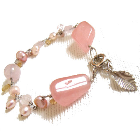 Rose,Quartz,and,Citrine,Bracelet,by,Catherine,Marche,rose quartz bracelet, beaded pastel gemstones bracelet, chunky gemstones, pink bracelet, catherine marche jewellery, jedeco jewellery, jewellery designers collective london