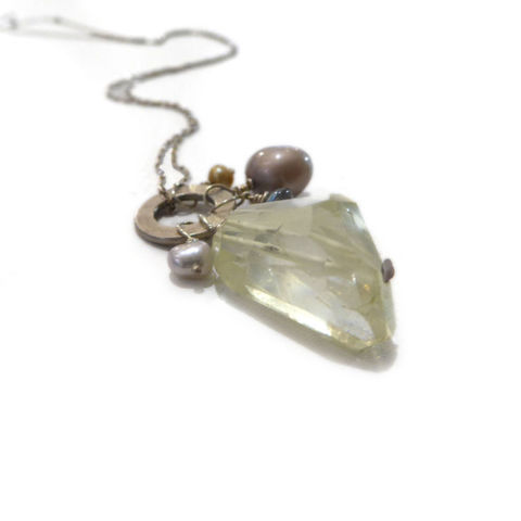 Lemon,Quartz,and,Pearls,Talisman,Necklace,by,Catherine,Marche,sterling silver chain necklace, cluster pendant, gemstones and pearls pendant, talisman lucky charm necklace, catherine marche jewellery