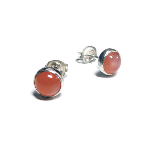 Peach,Moonstone,Stud,Earrings,by,Catherine,Marche,orange earrings, peach moonsone stud earrings, round gemstones earstuds, round earrings, catherine marche jewellery, jedeco designer jewellers, london jeweller, bespoke jewellery