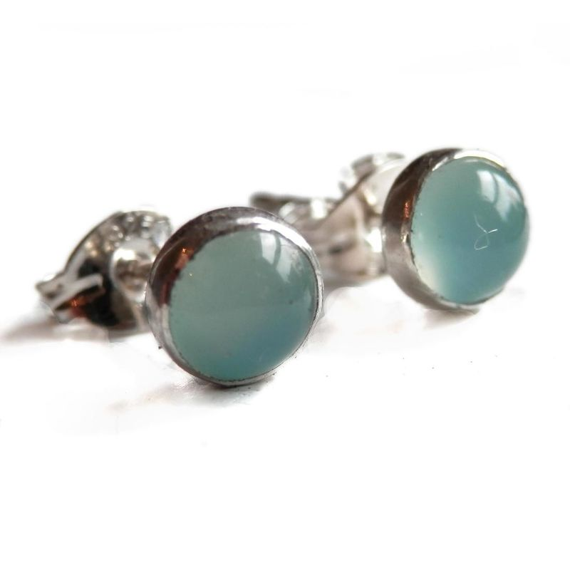 Aqua Blue Chalcedony Round Stud Earrings by Catherine Marche - product images  of