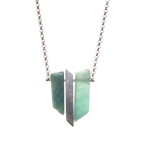Amazonite,Shards,2,by,Rosemary,Lucas,Amazonite and silver necklace, geometric necklace, vivid blue necklace