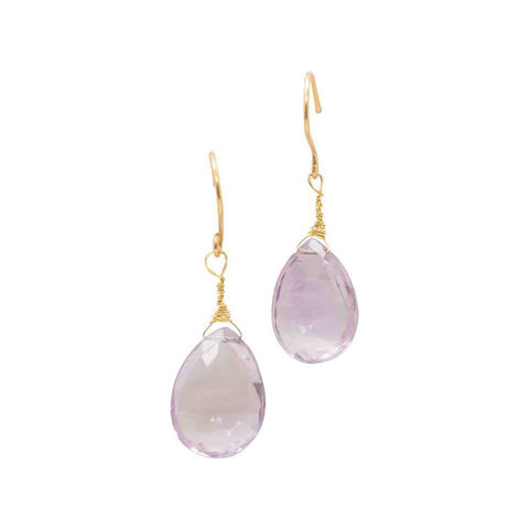 Rose,de,France,Amethyst,teardrop,earrings,in,18ct,gold,by,Catherine,Marche,rose de france amethyst earrings, purple gemstone jewelry, tear drop and gold earrings, 18ct gold drop earrings, catherine marche jewellery