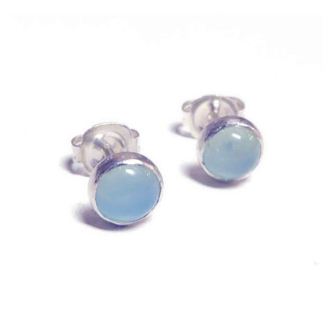 Aqua,Blue,Chalcedony,Round,Stud,Earrings,by,Catherine,Marche,blue earrings, aqua chalcedony stud earrings, sterling silver studs, round gemstones earstuds, round earrings, catherine marche jewellery, jedeco designer jewellers, london jeweller, bespoke jewellery, studs, blue