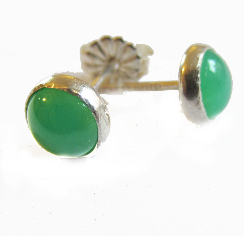 Green Chrysoprase Small Stud Earrings by Catherine Marche - product images  of